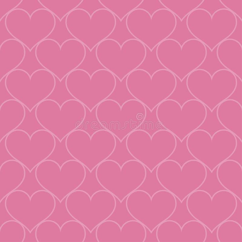 Pink hearts love seamless background pattern, Valentine day vector illustration