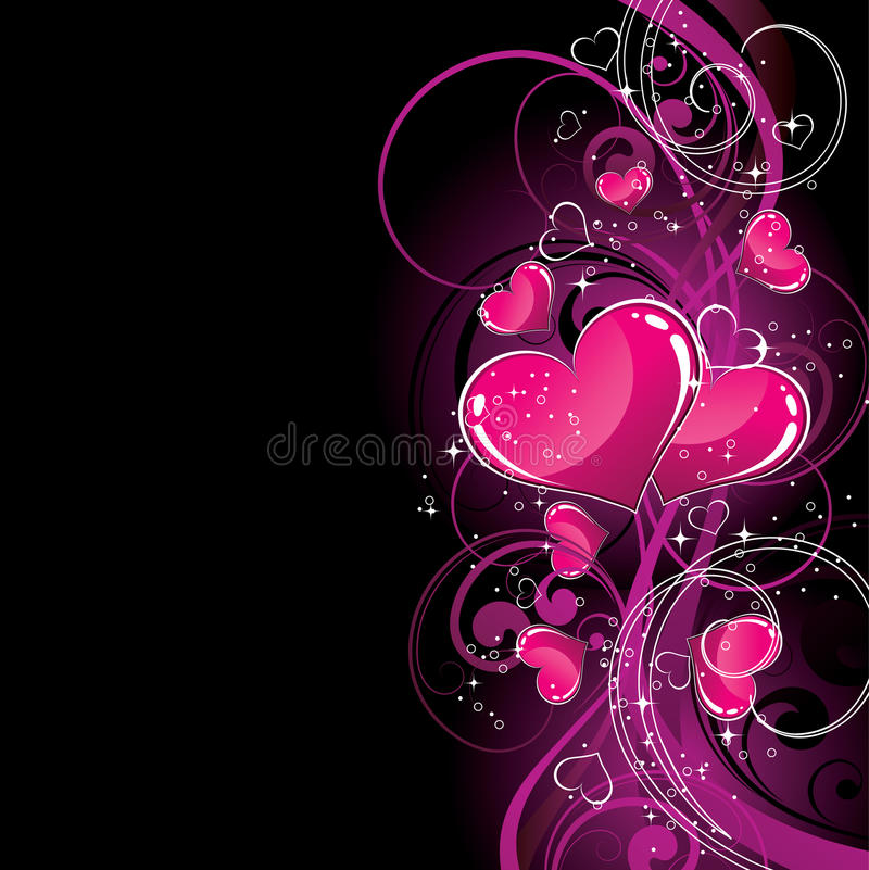 Free Pink Hearts On Black Stock Image - 9667201