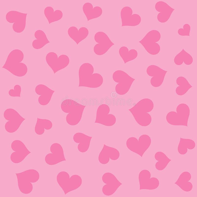 Pink hearts seamless background pattern stock illustration