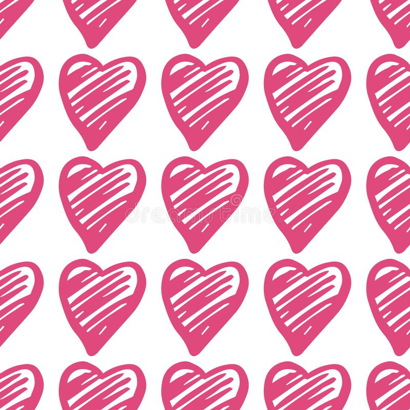 Pink hearts seamless pattern. Valentines Day backdrop. 14 february background vector illustration