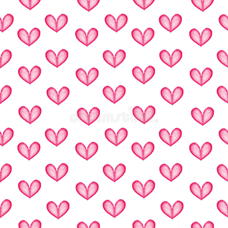 Pink hearts seamless pattern. Watercolor hearts seamless pattern. Raster version royalty free illustration