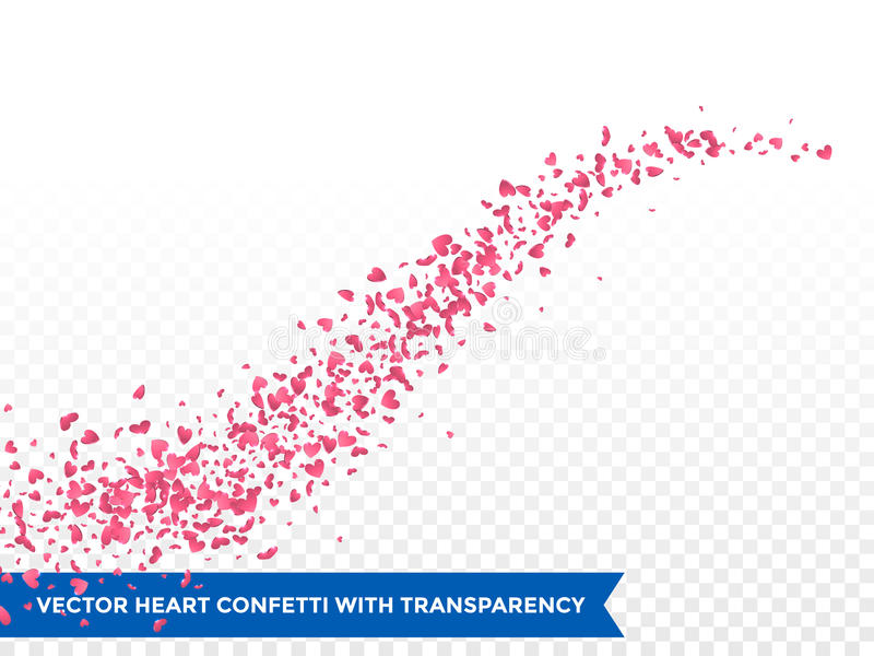 Pink hearts trace trail vector background. Pink hearts trace or vector wedding love comet trace confetti trail transparent background stock illustration