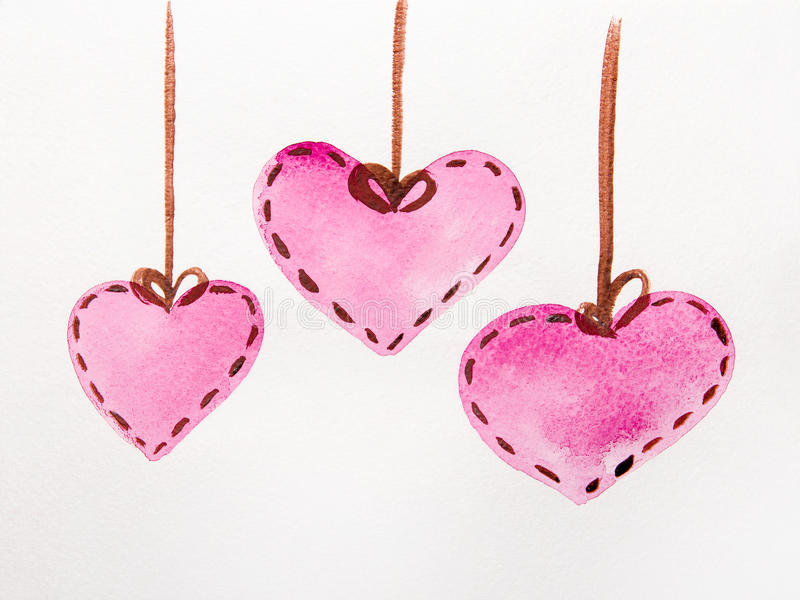 Pink hearts watercolor. The pink hearts of the different sizes attached on a string. St. Valentine's Day, drawing water color paints stock illustration