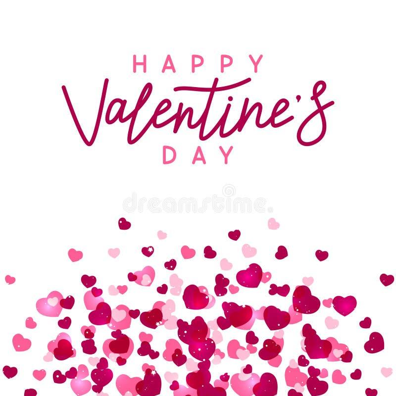 Pink hearts on white background stock illustration
