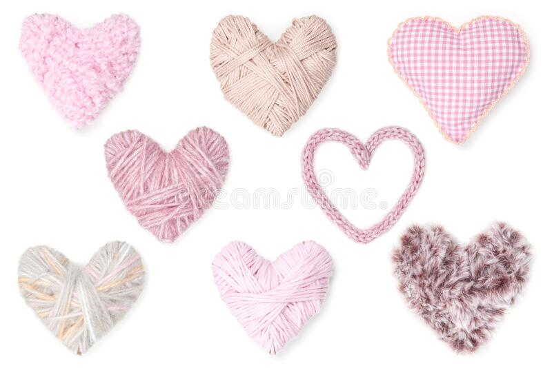 Pink hearts on white background stock image