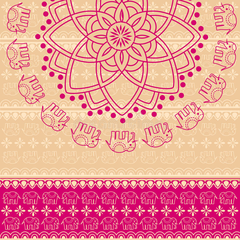 Pink henna elephant mandala background royalty free illustration