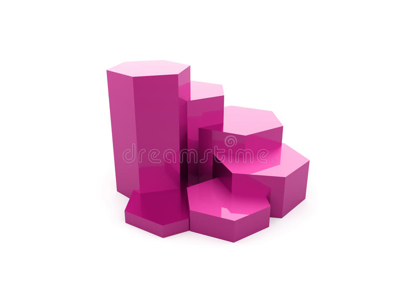Pink hexagonal graph rendered isolated royalty free illustration