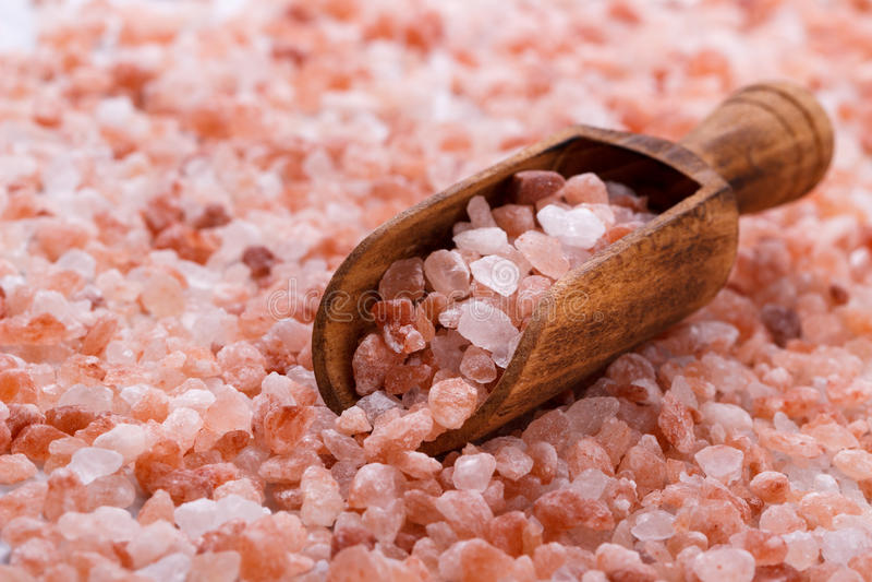 Pink himalayan salt stock images
