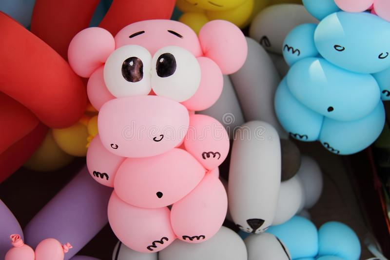 Pink hippo balloon sculpture stock images
