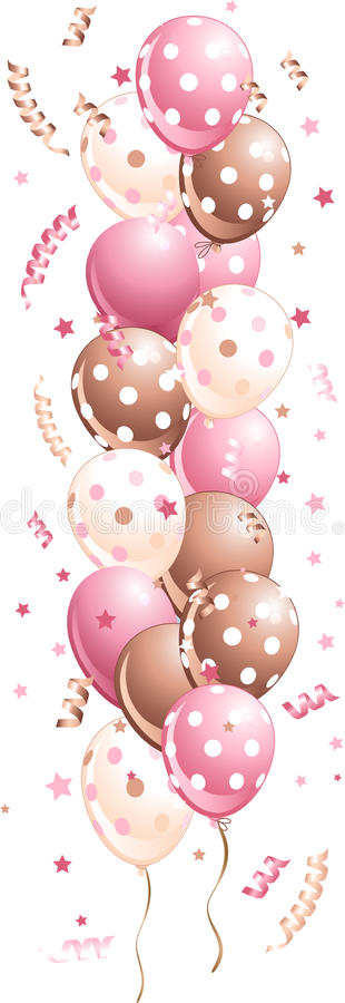 Download Pink Holiday Balloons In Line Stock Vector - Image: 18867553