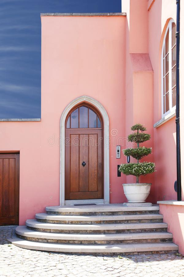 Free Pink Home / House Entrance With Steps Stock Image - 107760131