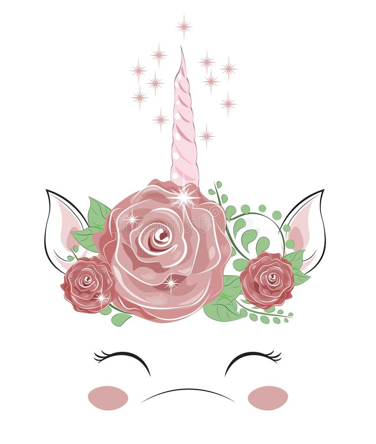 Horn of a unicorn and flowers vector illustration