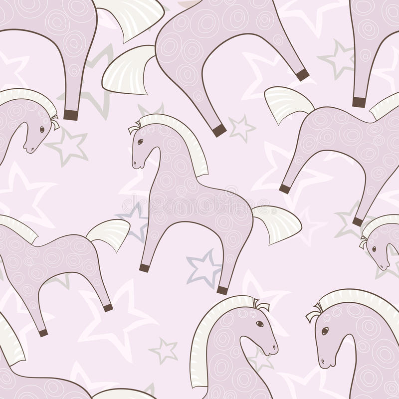 Download Pink Horses Girlish Seamless Pattern With Stars Background Stock Vector - Image: 43269492