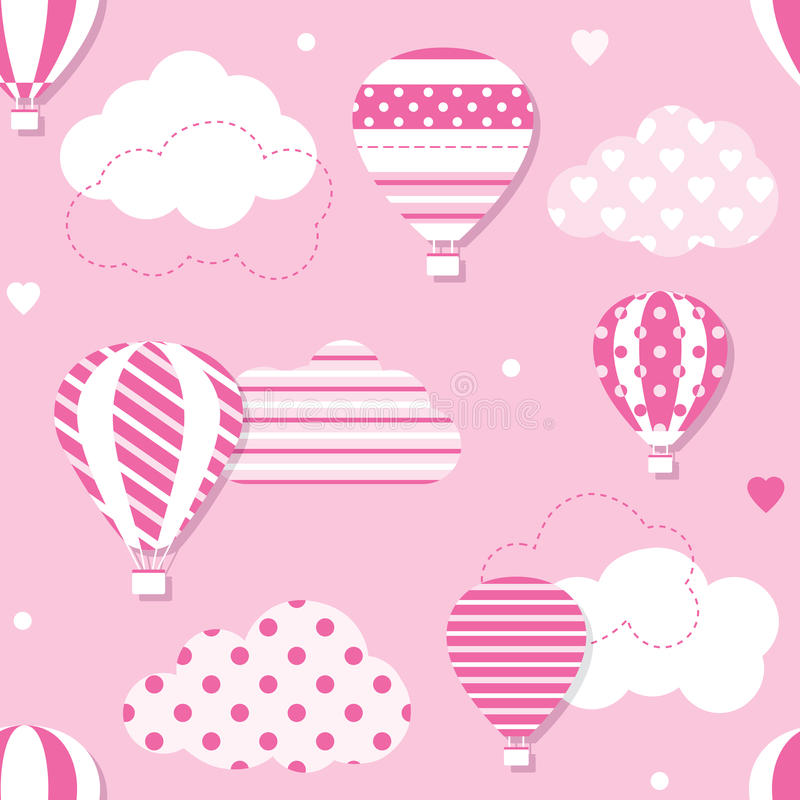Pink hot air balloons pattern. Illustration of hot air balloons collection with patterned clouds, hearts and dots on pink background vector illustration
