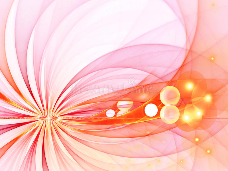 Pink Hot Rays, Arcs with Bubbles - fractal image stock illustration