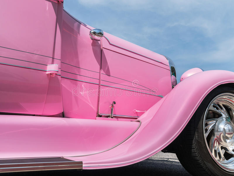 Pink hot rod. Details of a custom pink hot rod stock images