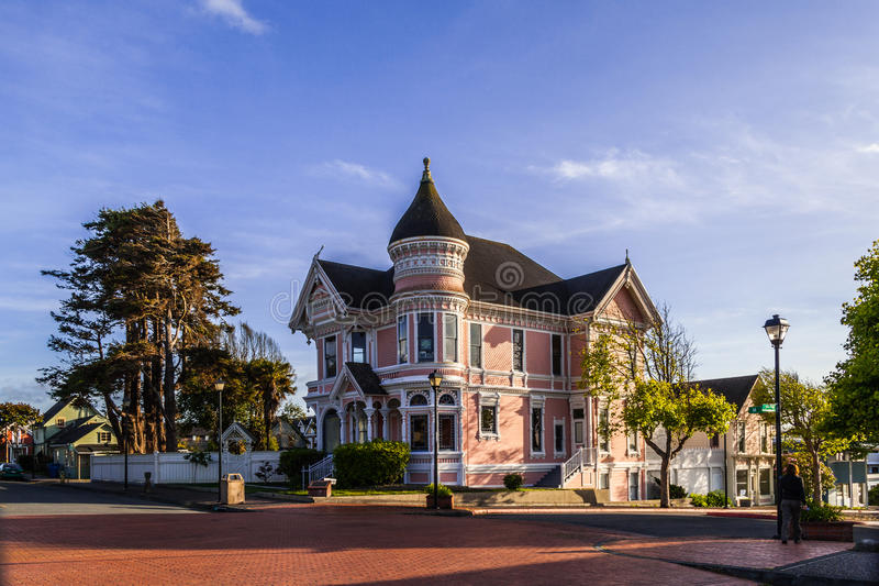 Pink House Eureka. The pink house in Eureka old downtown area, beautiful victorian style house, Eureka California royalty free stock photography