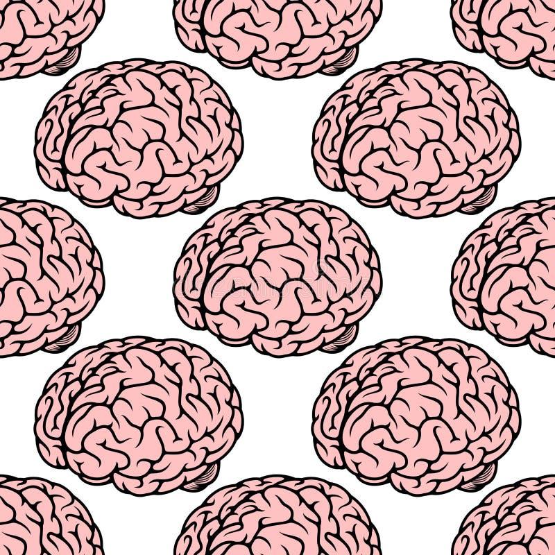 Pink human brain seamless pattern royalty free illustration