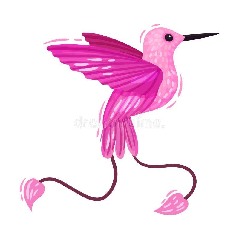 Free Pink Hummingbird With Long Beak Isolated On White Background Vector Illustration Stock Image - 172196001