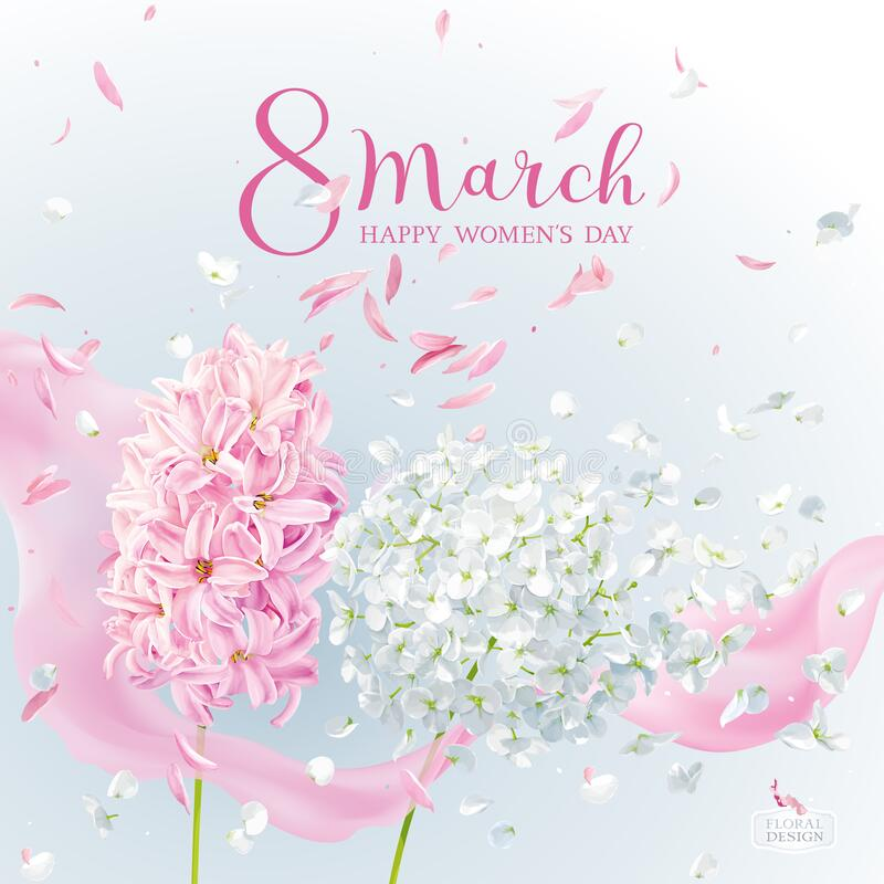 Pink Hyacinth flower and white Hydrangea flower for 8 March vector greeting card stock illustration