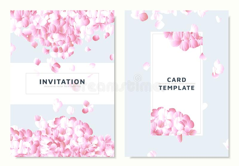 Pink hydrangea, petals dropping on blue background, invitation card template. Design royalty free illustration