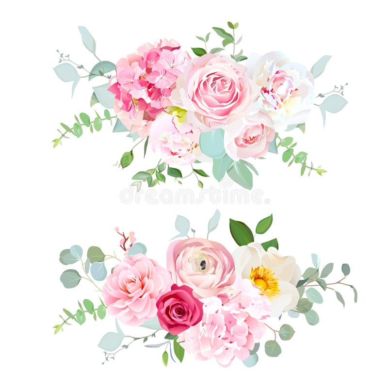Pink hydrangea, red rose, white peony, camellia, ranunculus, euc. Alyptus and greenery vector design horizontal bouquets.Spring wedding flowers. Floral banner