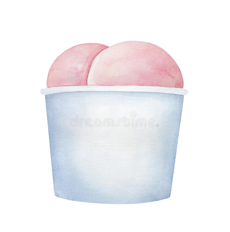 Pink ice cream dessert in paper cup container. vector illustration