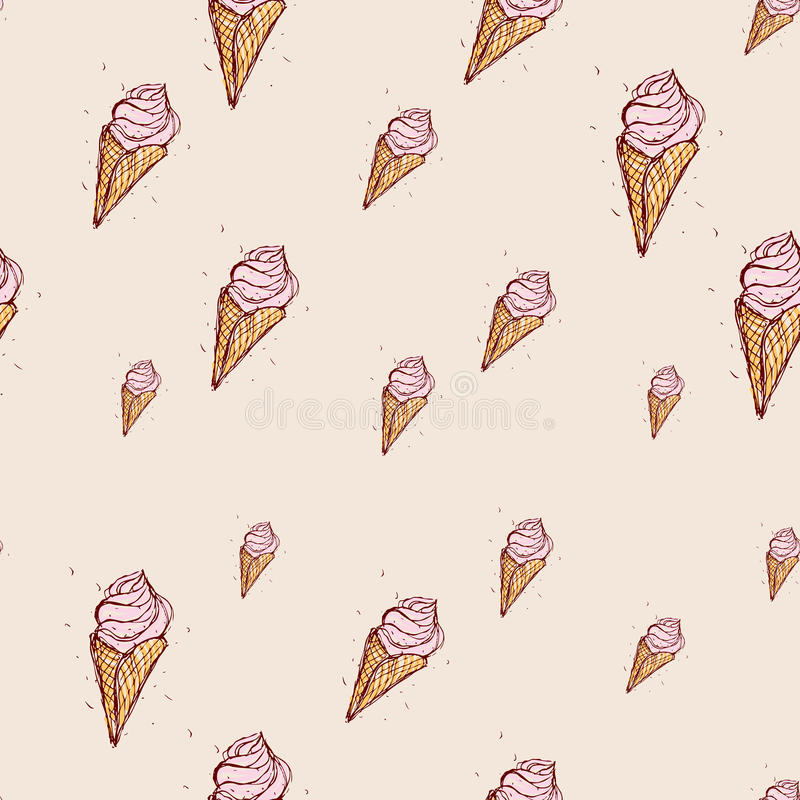 Pink ice cream Hand drawn sketch on pink background. seamless pattern vector stock illustration