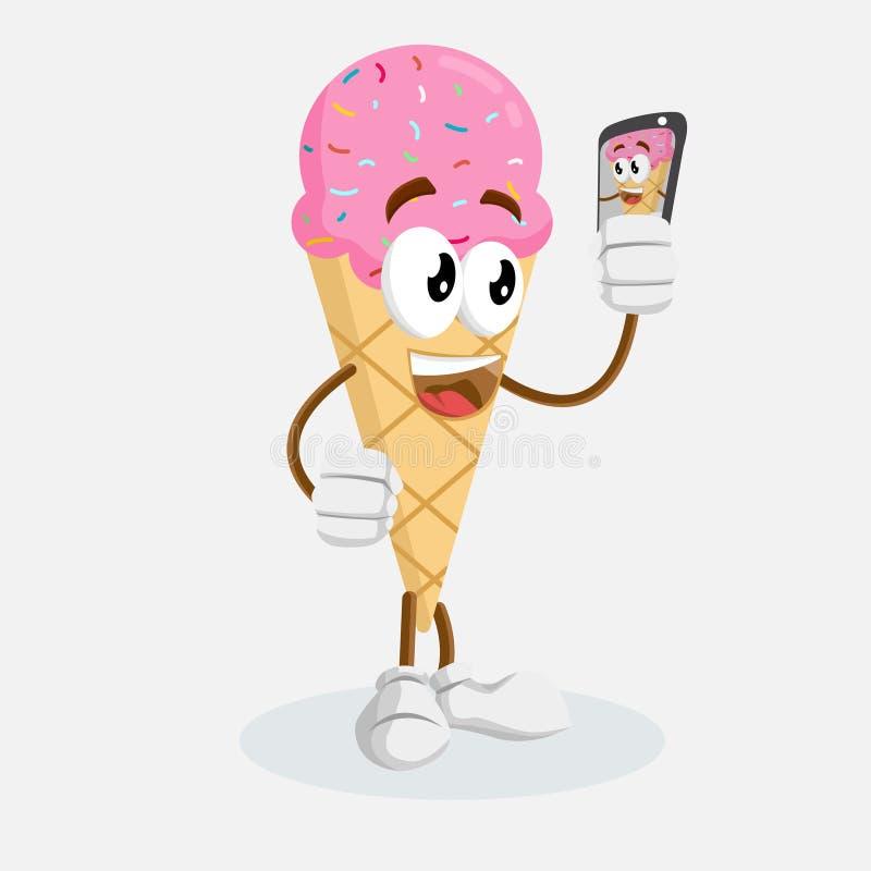 Pink Ice cream Logo mascot with selfie pose vector illustration