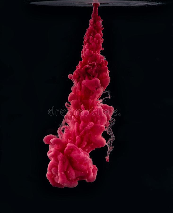 Pink ink in water on a black background. Color blast.  stock photo