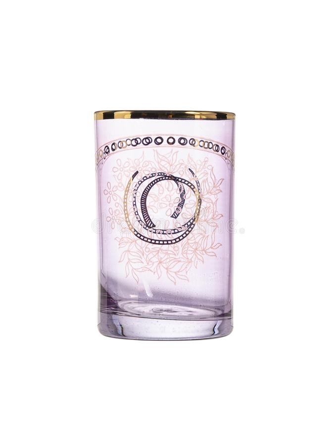 Pink inlaid glass on white background royalty free stock photography
