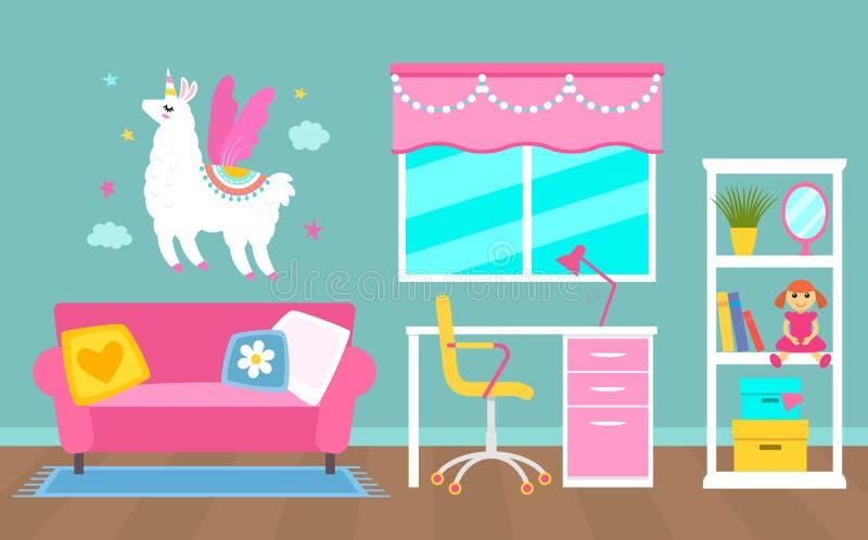 Pink interior girl schoolgirls or female student. Work desk, shelving, sofa and unicorn on the wall. Vector illustration. Living. Pink interior girl schoolgirls royalty free illustration