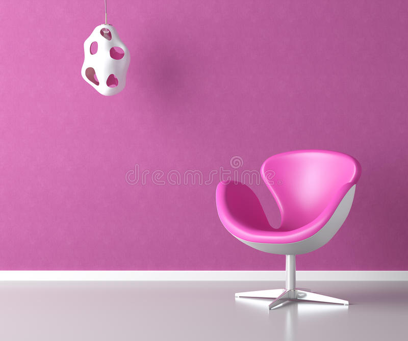 Pink interior wall with copy space royalty free illustration