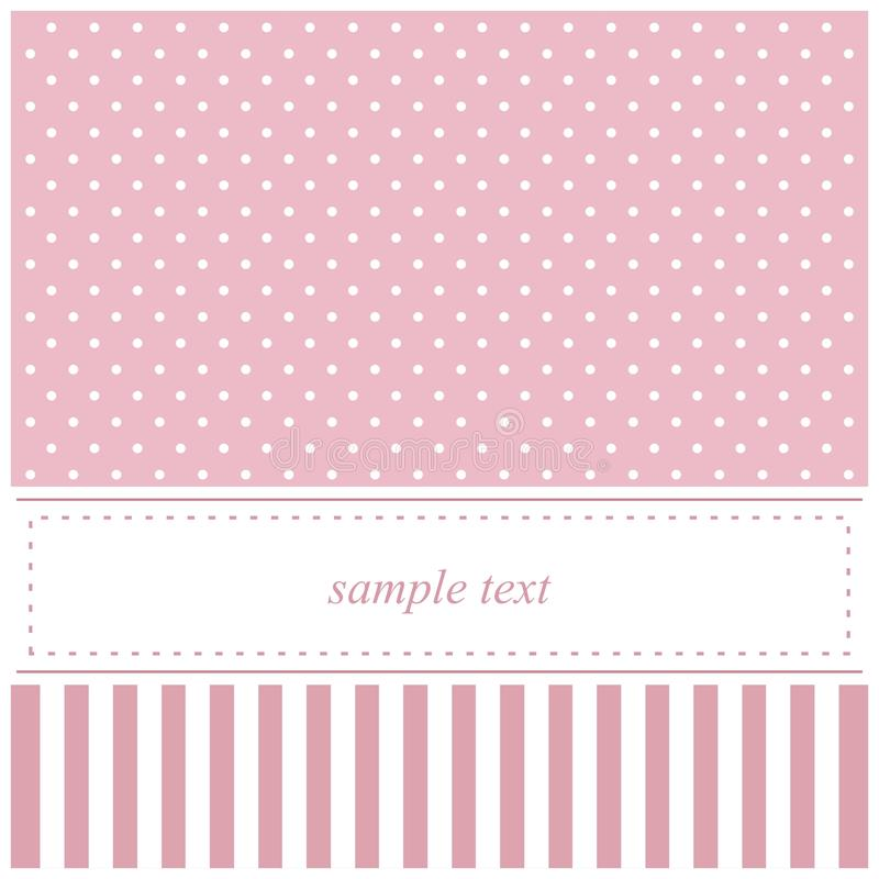 Pink vector invitation card with polka dots and st royalty free illustration