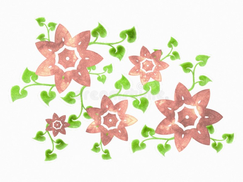 Pink Isolated Flowers on Vine stock illustration