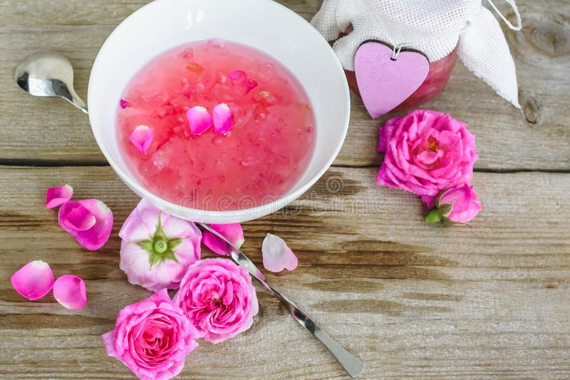 Jam with rose petals. royalty free stock photo