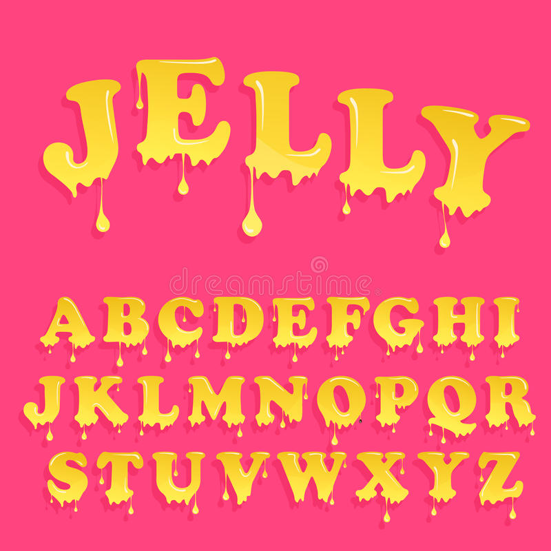 Pink jelly alphabet. Glossy letterhead design. Vector candy letters royalty free stock photography