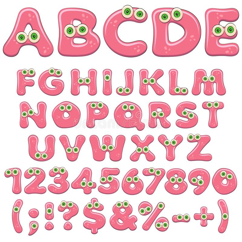 Pink jelly alphabet, letters, numbers and characters with green eyes. Isolated colored vector objects. Pink jelly alphabet, letters, numbers and characters with royalty free illustration