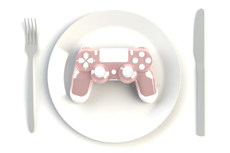 Pink joystick on plate, knife and fork on white table background, Computer game competition, Gaming concept. 3D rendering vector illustration