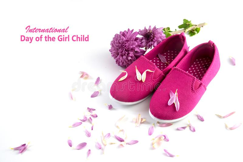 Pink kid shoes, flower and petals isolated on a white background, text International Day of the Girl Child, concept date 11 Octobe royalty free stock photography