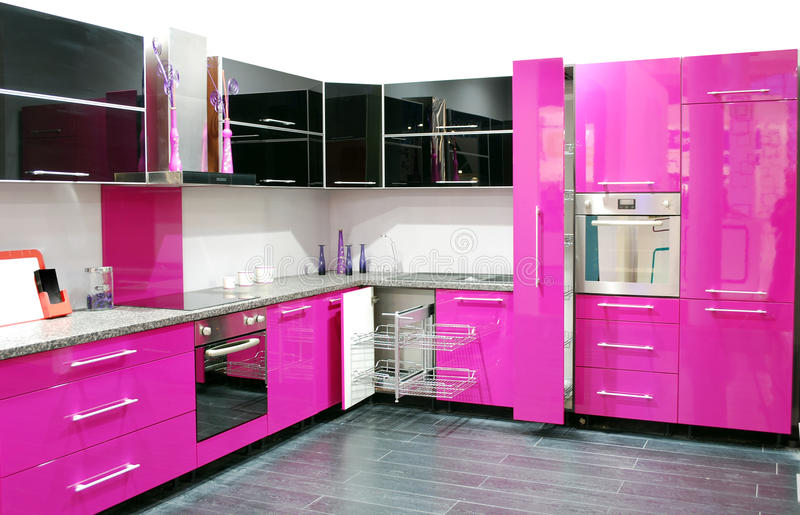 Pink kitchen stock image. Image of contemporary, style - 17377723