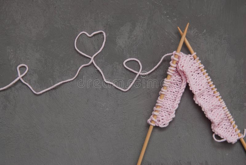 Pink Knitting Wool And Knitting Needle With Heart Shape From Wire ...