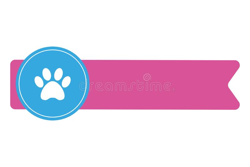 Pink label with animal paw prints on blue circle. royalty free illustration