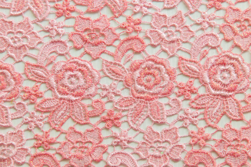 Pink lace on white background. No any trademark or restrict matter in this photo.  stock image