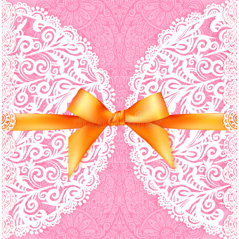 Pink lacy wedding card with orange silky bow vector illustration