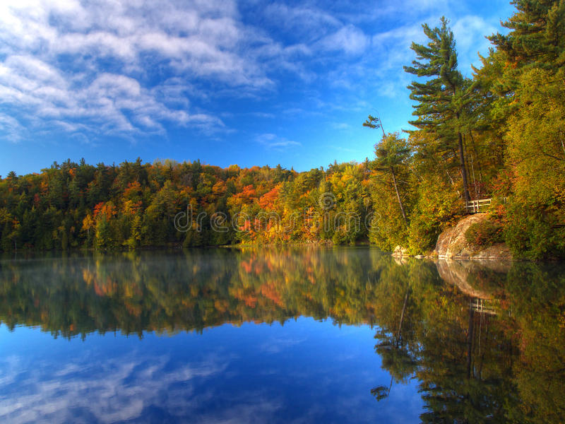 Pink lake on an autumn morning royalty free stock photo