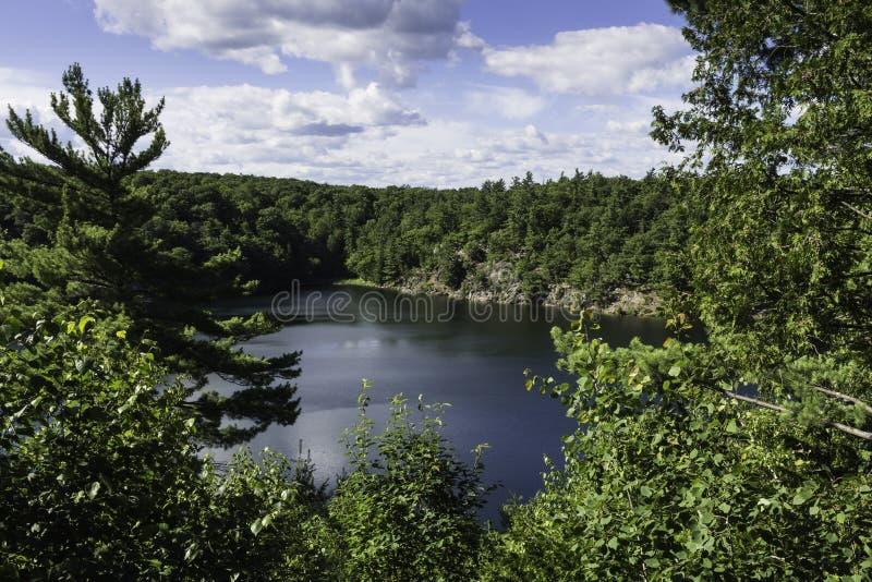 Pink Lake in Gatineau Park stock photo