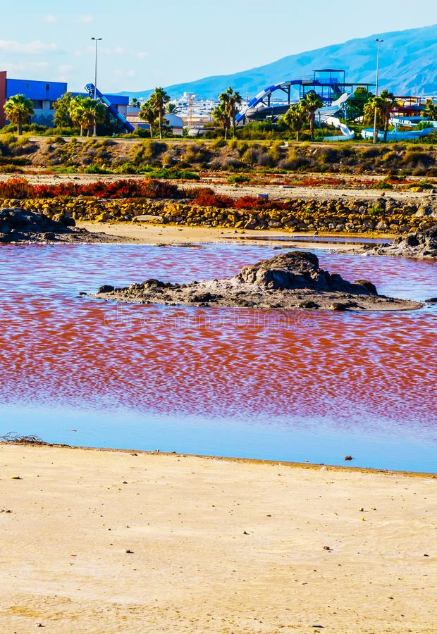 Pink lake in spain, unusual phenomenon, mineral influence on water. Rose river stock images