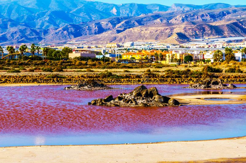 Pink lake in spain, unusual phenomenon, mineral influence on water. Rose river royalty free stock photos