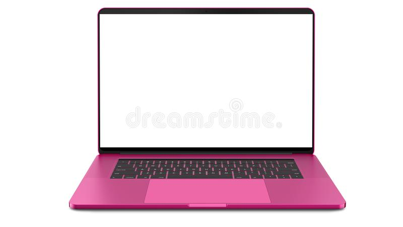 Pink laptop with blank screen isolated on white background. Whole in focus. High detailed. Pink laptop with blank screen isolated on white background. Whole in royalty free stock images